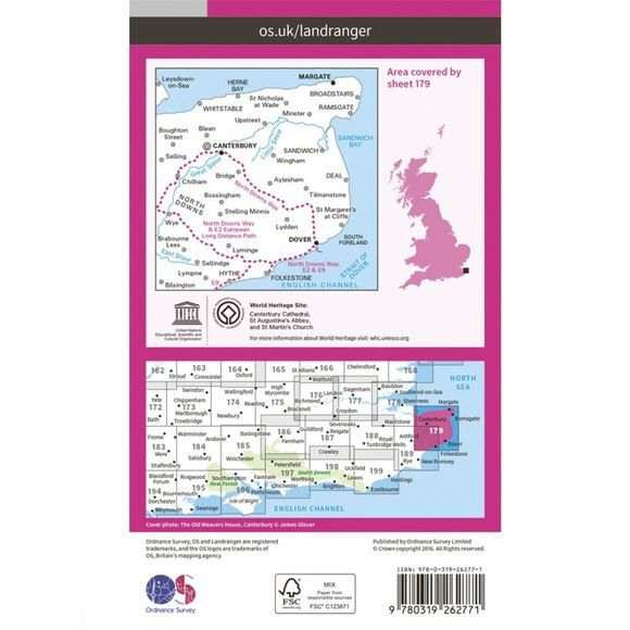 Ordnance Survey Landranger Map 179 Canterbury and East Kent V16