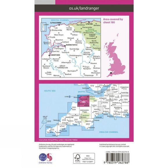 Ordnance Survey Landranger Map 180 Barnstaple and Ilfracombe V16