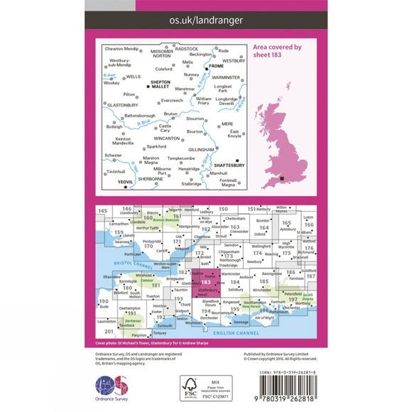 Landranger Map 183 Yeovil and Frome