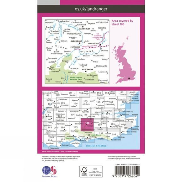 Landranger Map 186 Aldershot and Guildford