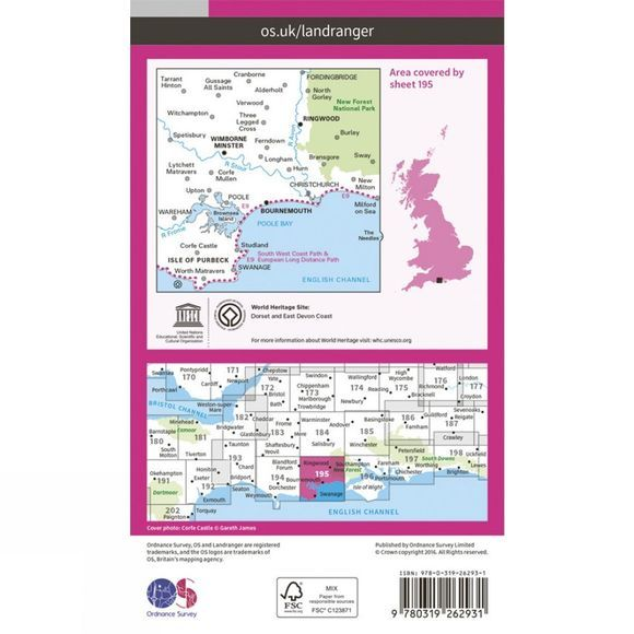 Ordnance Survey Landranger Map 195 Bournemouth and Purbeck V16