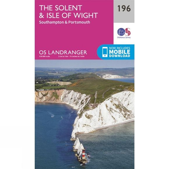Ordnance Survey Landranger Map 196 The Solent and Isle of Wight V16