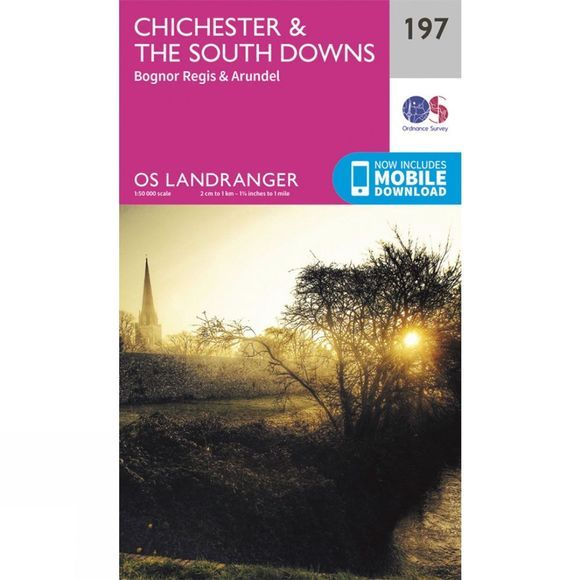 Ordnance Survey Landranger Map 197 Chichester and The South Downs V16