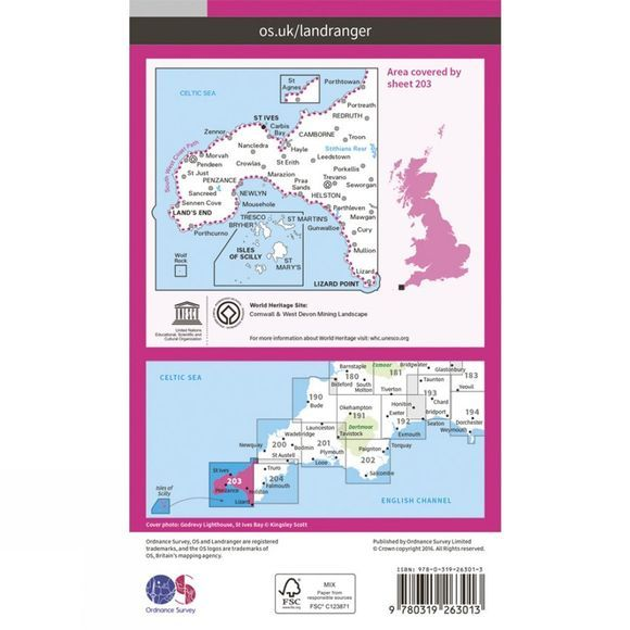Ordnance Survey Landranger Map 203 Land's End and Isles of Scilly V16