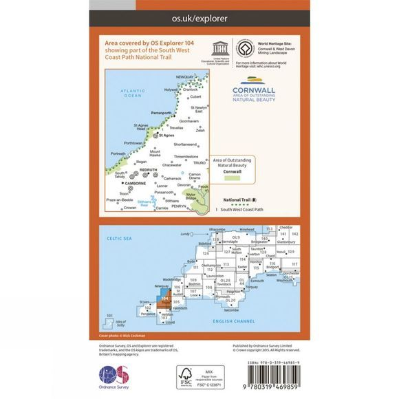 Ordnance Survey Active Explorer Map 104 Redruth and St Agnes V15