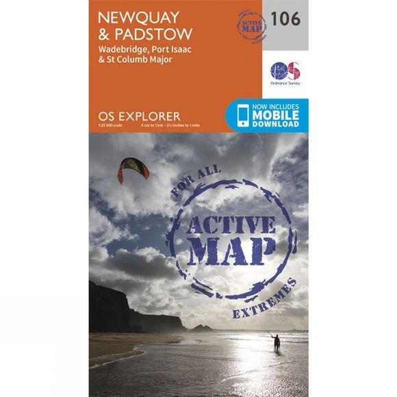 Ordnance Survey Active Explorer Map 106 Newquay and Padstow V15