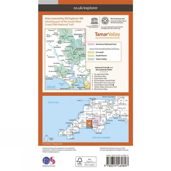 Active Explorer Map 108 Lower Tamar Valley and Plymouth