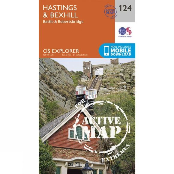 Ordnance Survey Active Explorer Map 124 Hastings and Bexhill V15