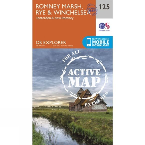Ordnance Survey Active Explorer Map 125 Romney Marsh, Rye and Winchelsea V15