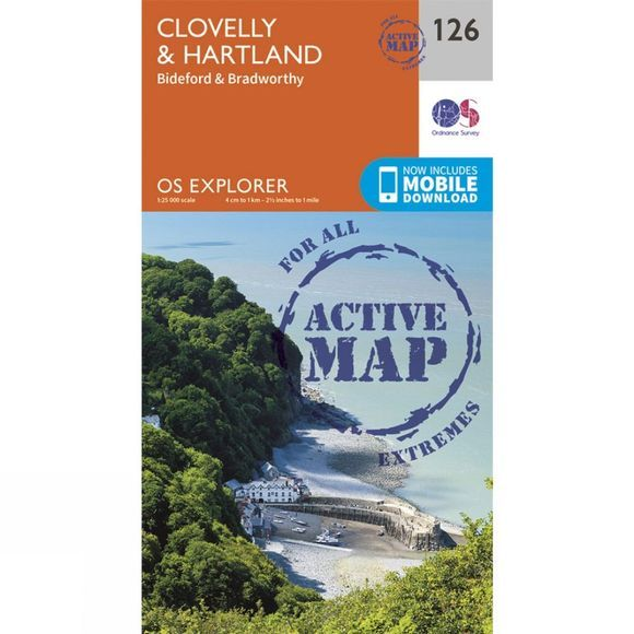 Ordnance Survey Active Explorer Map 126 Clovelly and Hartland V15