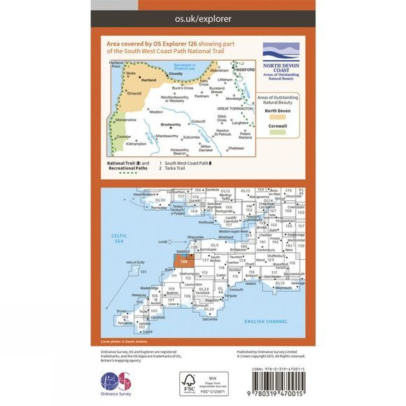 Active Explorer Map 126 Clovelly and Hartland