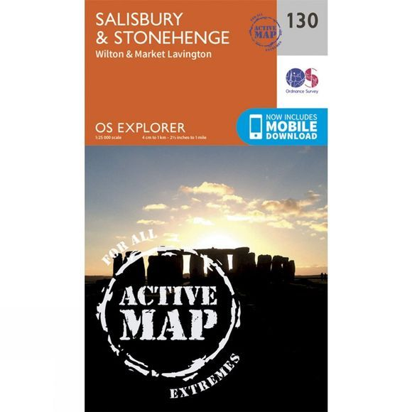 Ordnance Survey Active Explorer Map 130 Salisbury and Stonehenge V15