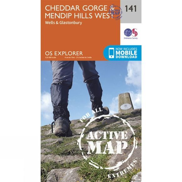 Ordnance Survey Active Explorer Map 141 Cheddar Gorge and Mendip Hills West V15