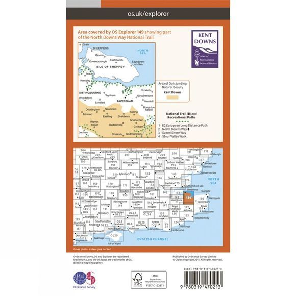 Ordnance Survey Active Explorer Map 149 Sittingbourne and Faversham V15