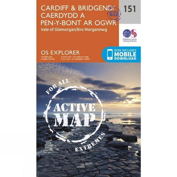 Ordnance Survey Active Explorer Map 151 Cardiff and Bridgend V15