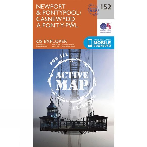Ordnance Survey Active Explorer Map 152 Newport and Pontypool V15