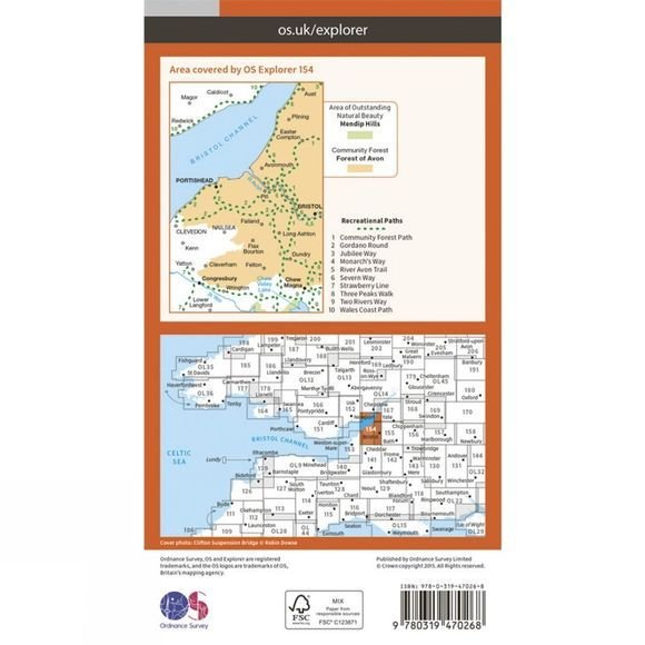 Ordnance Survey Active Explorer Map 154 Bristol West and Portishead V15