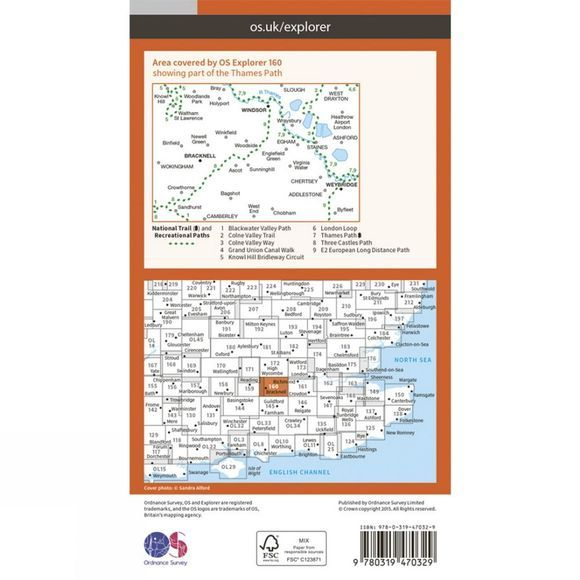 Ordnance Survey Active Explorer Map 160 Windsor, Weybridge and Bracknell V15