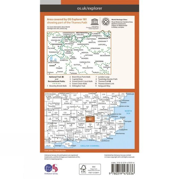 Ordnance Survey Active Explorer Map 161 London South V15