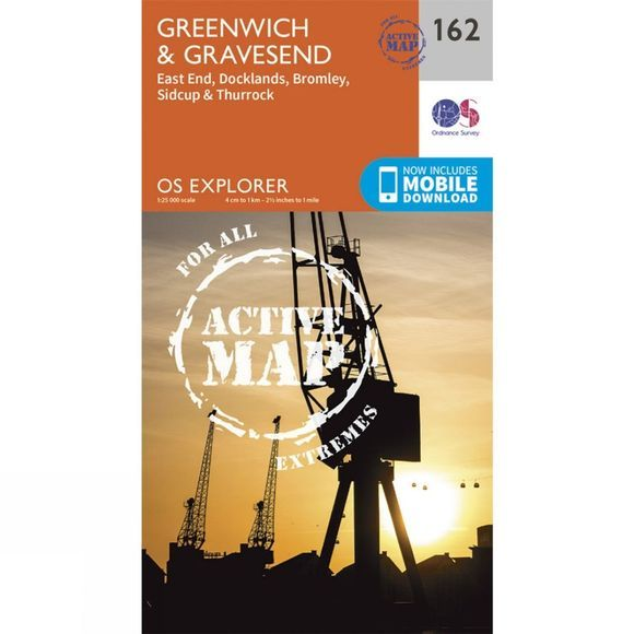 Ordnance Survey Active Explorer Map 162 Greenwich and Gravesend V15