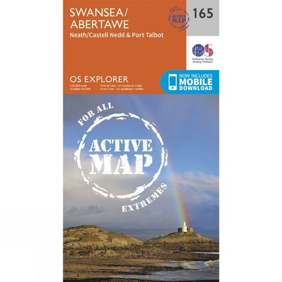 Ordnance Survey Active Explorer Map 165 Swansea V15