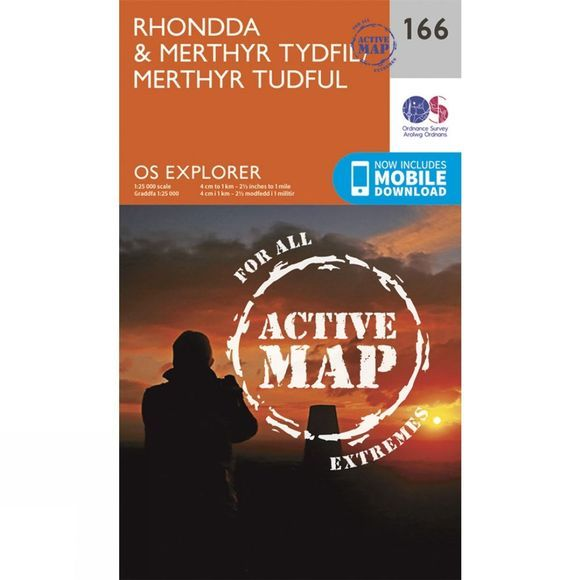 Ordnance Survey Active Explorer Map 166 Rhondda and Merthyr Tydfil V15