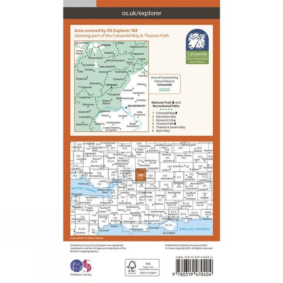 Active Explorer Map 168 Stroud, Tetbury and Malmesbury
