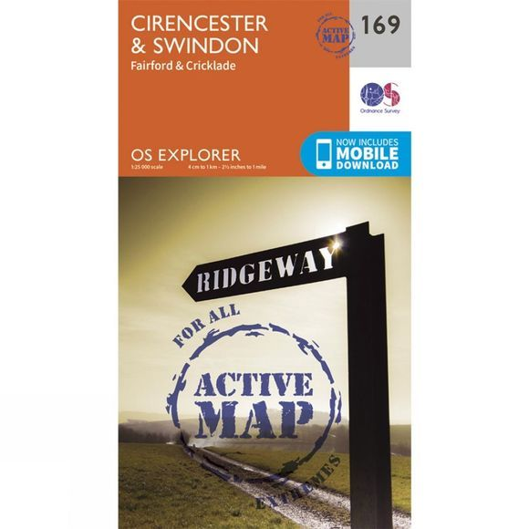 Ordnance Survey Active Explorer Map 169 Cirencester and Swindon V15