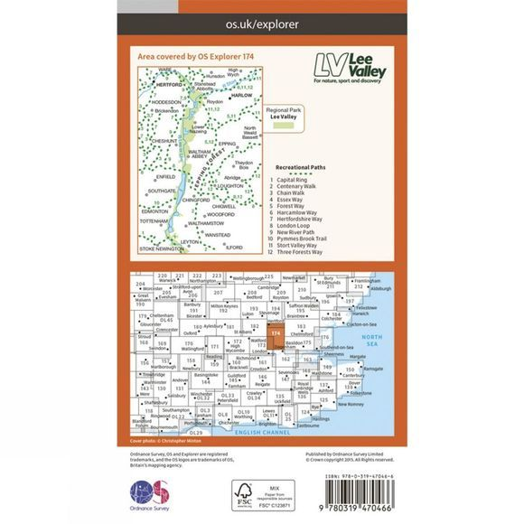 Active Explorer Map 174 Epping Forest and Lee Valley