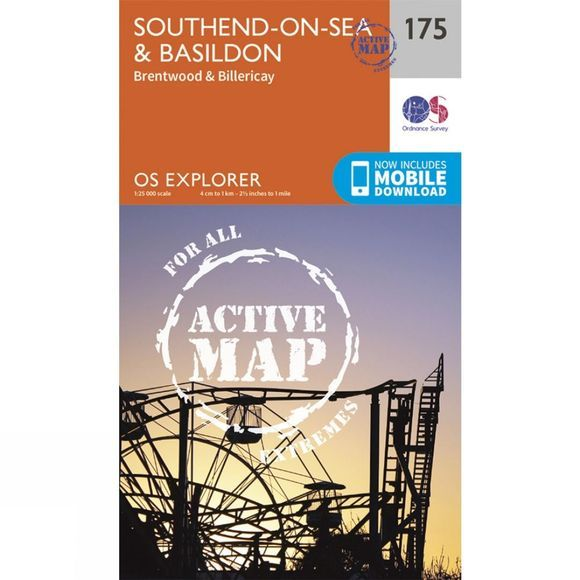 Ordnance Survey Active Explorer Map 175 Southend-on-Sea and Basildon V15