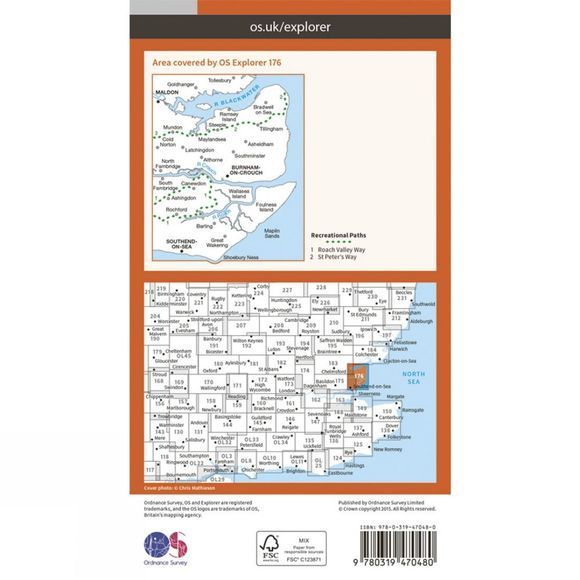 Active Explorer Map 176 Blackwater Estuary