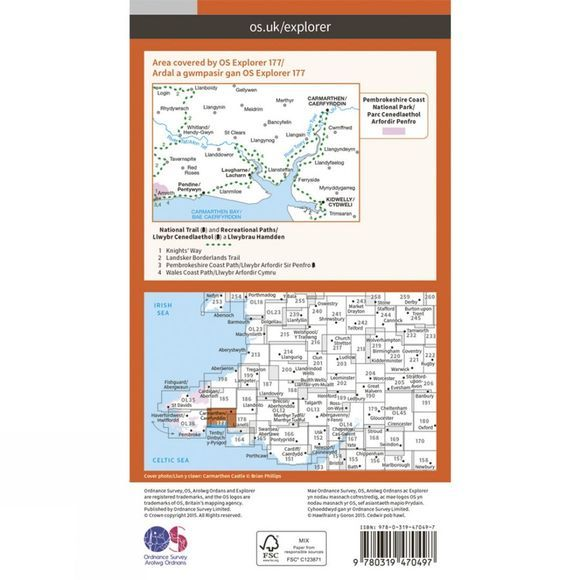 Ordnance Survey Active Explorer Map 177 Carmarthen and Kidwelly V15