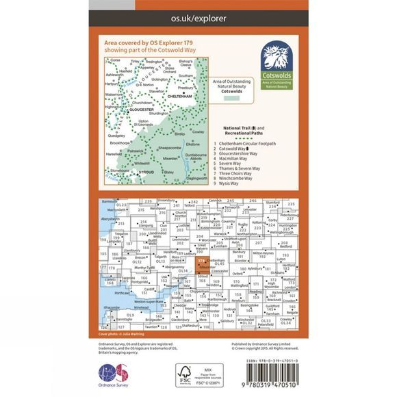 Ordnance Survey Active Explorer Map 179 Gloucester, Cheltenham and Stroud V15
