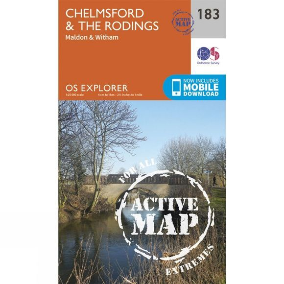 Ordnance Survey Active Explorer Map 183 Chelmsford and The Rodings V15