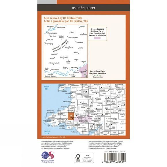 Ordnance Survey Active Explorer Map 186 Llandeilo and Brechfa Forest V15