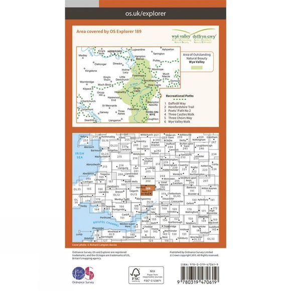 Active Explorer Map 189 Hereford and Ross-on-Wye