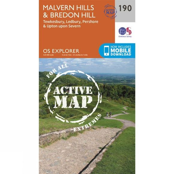 Ordnance Survey Active Explorer Map 190 Malvern Hills and Bredon Hill V15