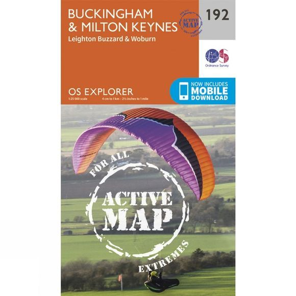 Ordnance Survey Active Explorer Map 192 Buckingham and Milton Keynes V15