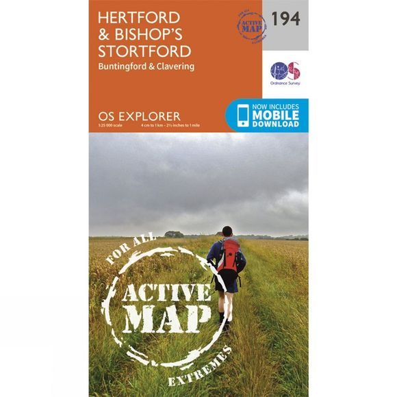 Ordnance Survey Active Explorer Map 194 Hertford and Bishop's Stortford V15