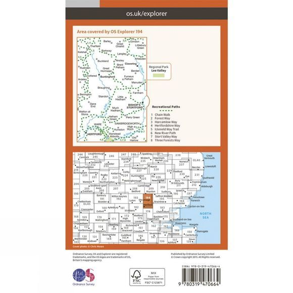 Active Explorer Map 194 Hertford and Bishop's Stortford