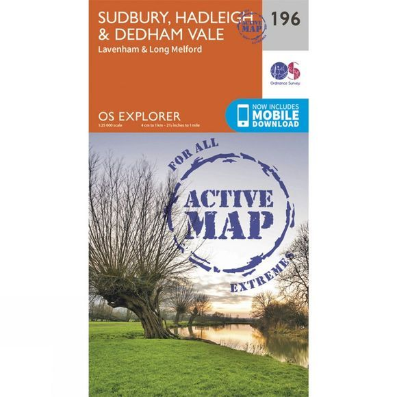 Ordnance Survey Active Explorer Map 196 Sudbury, Hadleigh and Dedham Vale V15