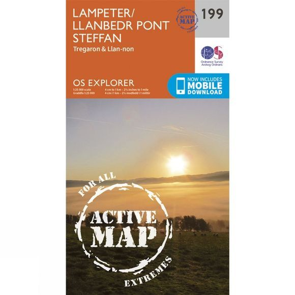 Ordnance Survey Active Explorer Map 199 Lampeter V15