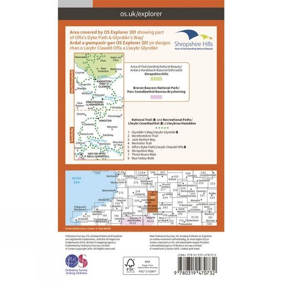 Ordnance Survey Active Explorer Map 201 Knighton and Presteigne V15