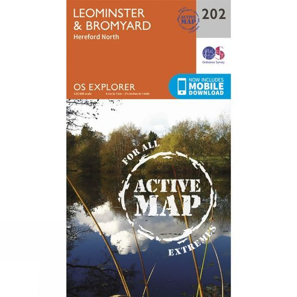 Ordnance Survey Active Explorer Map 202 Leominster and Bromyard V15