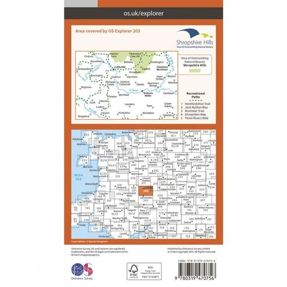 Ordnance Survey Active Explorer Map 203 Ludlow V15