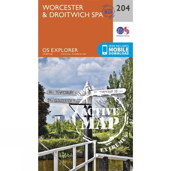 Ordnance Survey Active Explorer Map 204 Worcester and Droitwich Spa V15