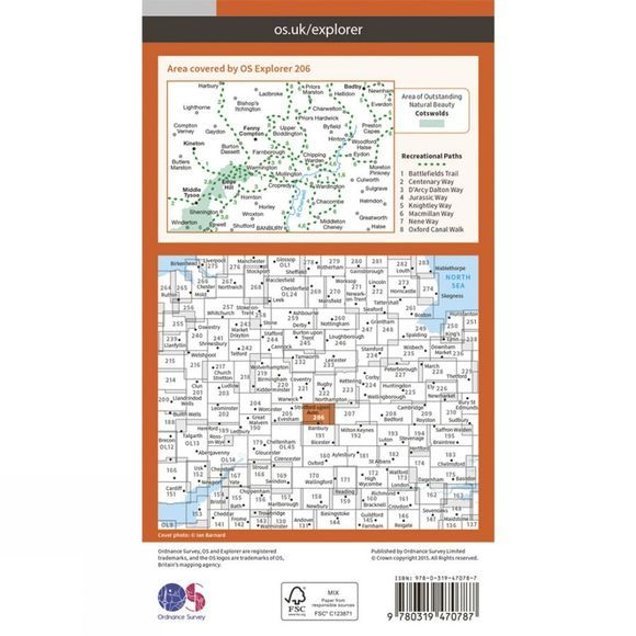 Active Explorer Map 206 Edge Hill and Fenny Compton