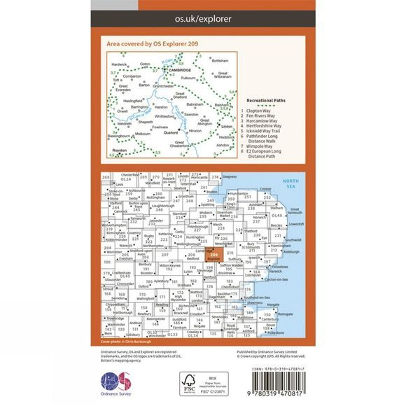 Active Explorer Map 209 Cambridge
