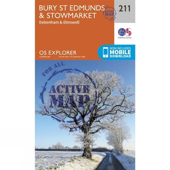 Active Explorer Map 211 Bury St Edmunds and Stowmarket
