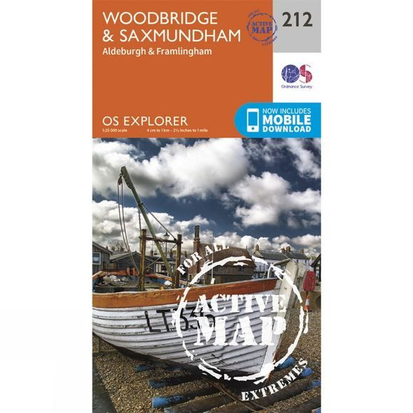 Ordnance Survey Active Explorer Map 212 Woodbridge and Saxmundham V15